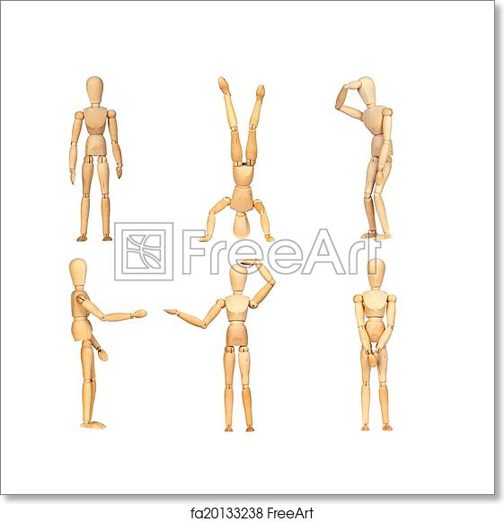 free art print of sequence gestures articulated wooden mannequin