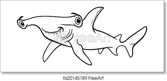 Free Art Print Of Hammerhead Shark Coloring Book