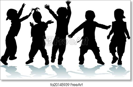 photo about Free Printable Silhouettes referred to as Totally free artwork print of Dancing small children - black silhouettes.
