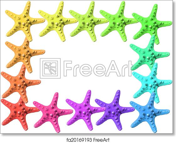 Free art print of Colorful starfish. Frame made with colorful ...