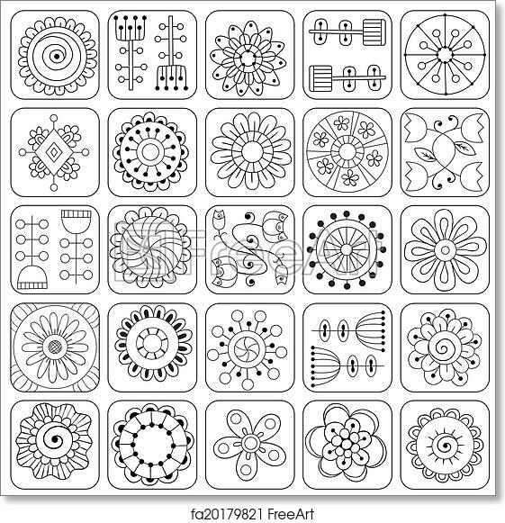 free art print of seamless doodle flowers leaves hearts pattern