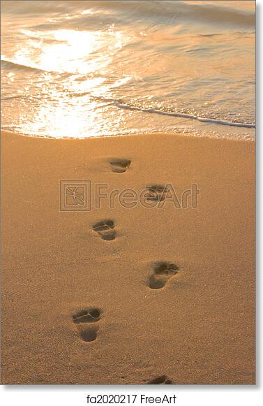 photo relating to Footprints in the Sand Printable named Free of charge artwork print of Footprints upon beach front sand