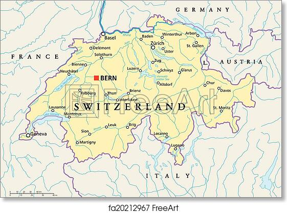 Free art print of Switzerland Political Map Political map of