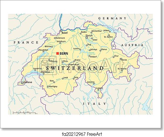 Free art print of switzerland political map political map of free art print of switzerland political map gumiabroncs Image collections