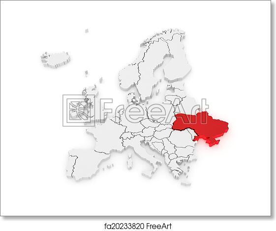 Ukraine On Map Of Europe.Free Art Print Of Map Of Europe And Ukraine Map Of Europe And