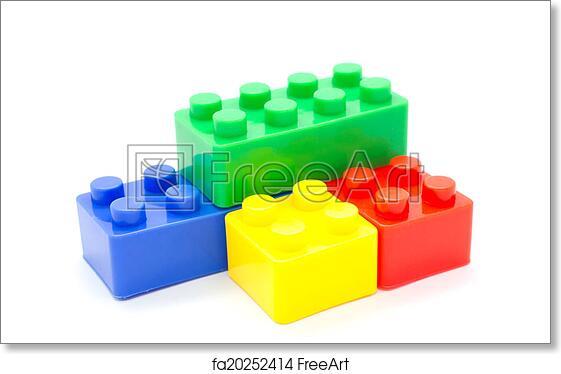 Free art print of Lego Plastic building blocks on white background