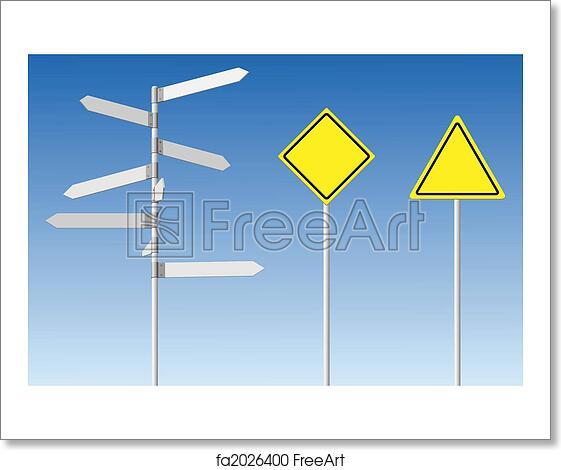 free art print of blank signpost and guard posts choice and warning