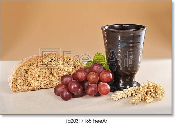 Free Art Print Of Bread And Wine Bread Wine And Bible For