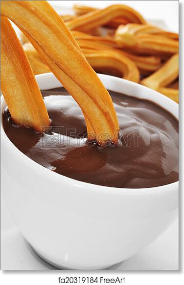 free art print of churros con chocolate a typical spanish sweet