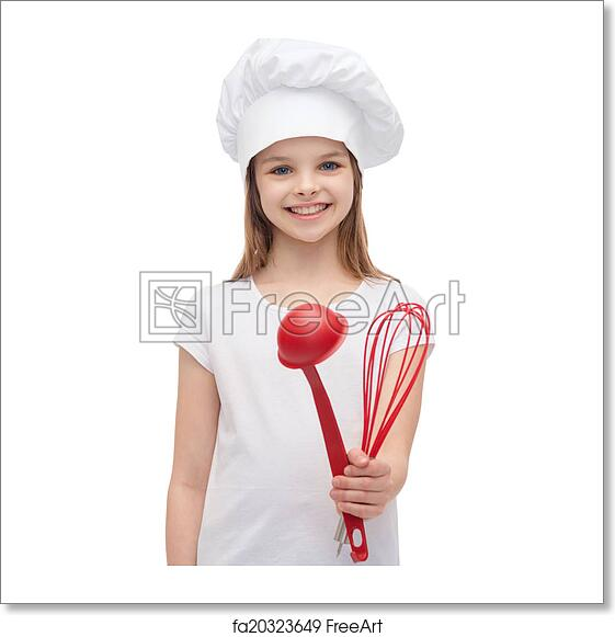 249669cf359 Cooking and people concept - smiling little girl in cook hat with ladle and  whisk