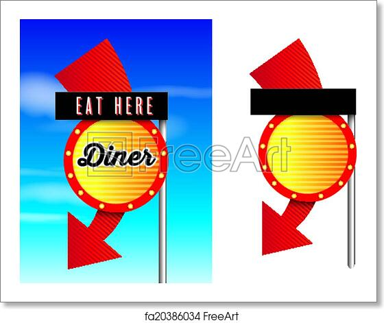 Free art print of American style retro vintage 1950s diner signs