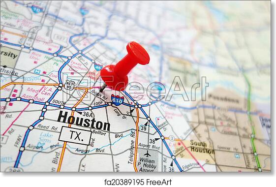 graphic regarding Houston Map Printable named Cost-free artwork print of Houston map