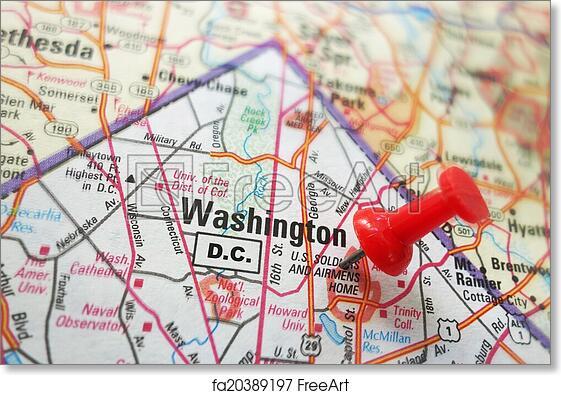 picture regarding Printable Map of Washington Dc referred to as Absolutely free artwork print of Washington DC