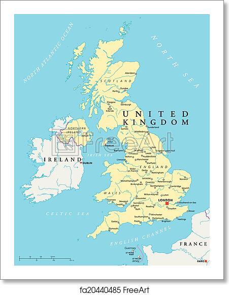 United Kingdom London Map.Free Art Print Of United Kingdom Political Map