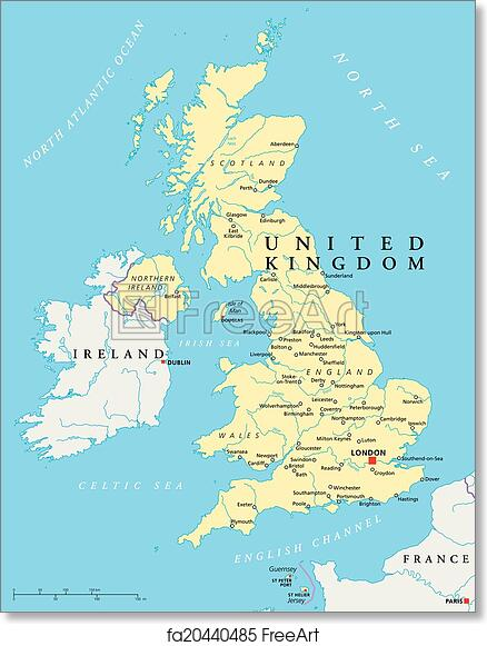 Political Map Of Great Britain.Free Art Print Of United Kingdom Political Map Political Map Of