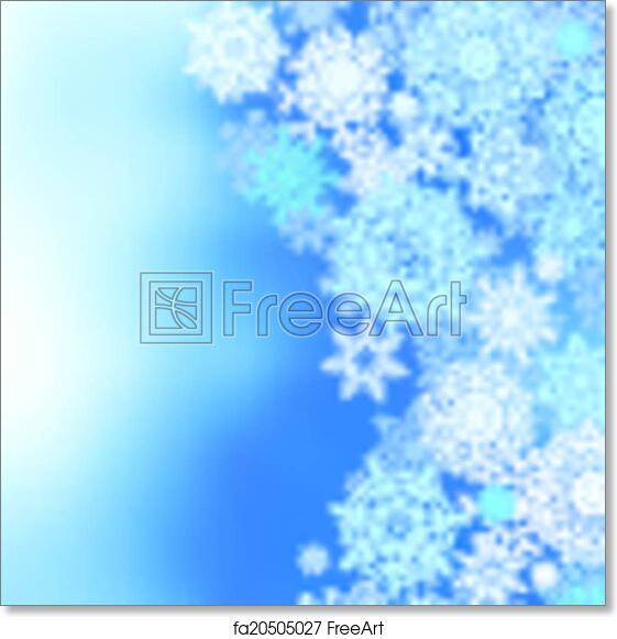 free art print of winter frozen background with snowflakes eps 8