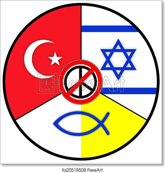 Free Art Print Of World Religions Symbols Of Judaism Islam And