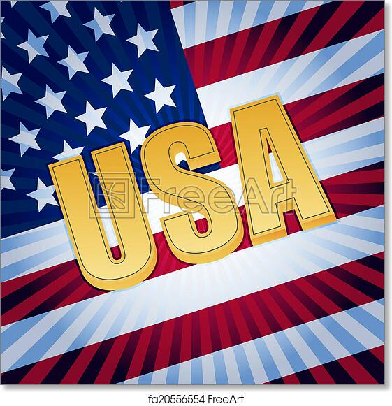 Free Art Print Of Usa Letters With Shining American Flag Usa 3d