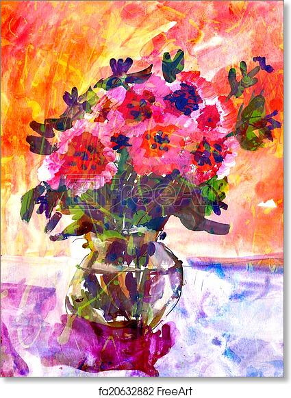 Free art print of Kid\u0027s drawing of a colorful bouquet