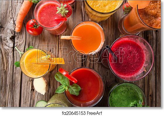 free art print of fresh fruit juice healthy drinks fresh juice mix