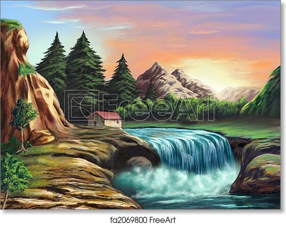 Fantasy Landscape Art Waterfall