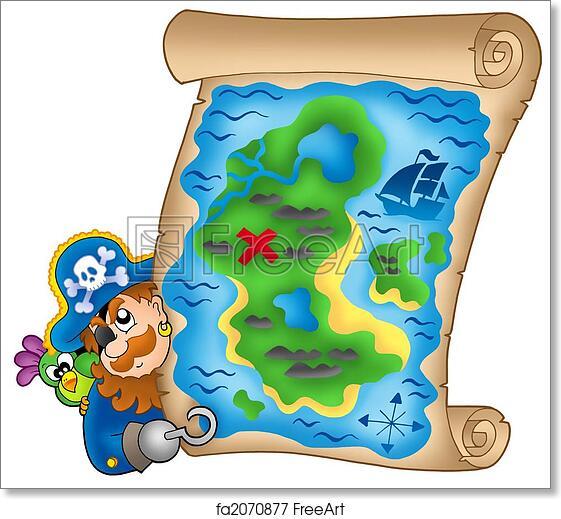 graphic regarding Free Printable Pirate Treasure Map identify Cost-free artwork print of Treasure map with lurking pirate