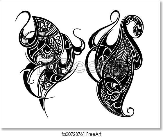 Free Art Print Of Tattoo Design Elements Design Elements Freeart