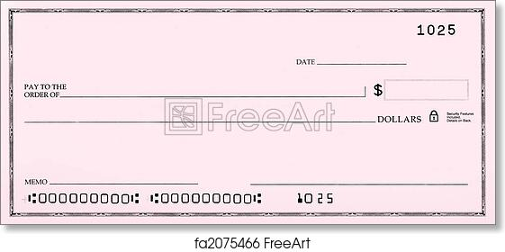 free art print of blank check with false numbers. blank pink check, Powerpoint templates