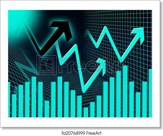 free art print of blue arrows background means up increase and graph