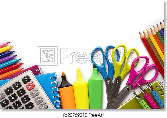 Free art print of School supplies on white background