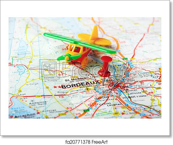 Bordeaux On Map Of France.Free Art Print Of Bordeaux France Map Airport
