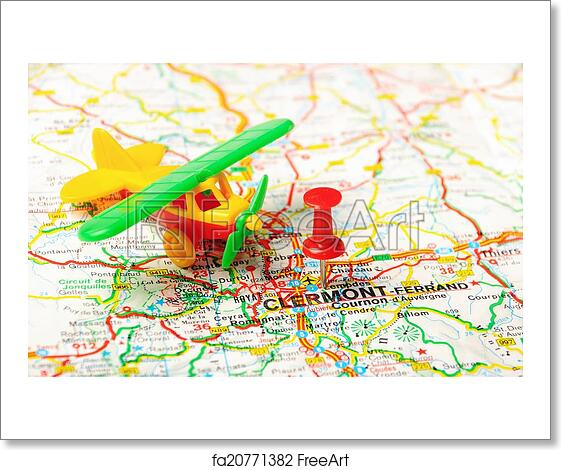 Free art print of Clermont  France map airport Red push pin