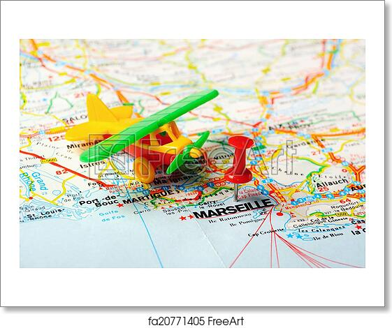Free Art Print Of Marseille France Map Airplane Red Push Pin