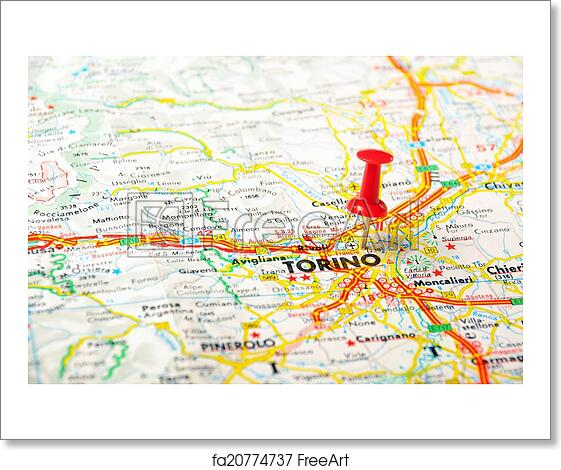 Free Art Print Of Torino Italy Map Red Push Pin Pointing At Torino
