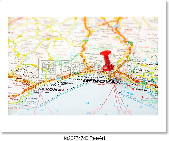 Free art print of Genova,Italy map