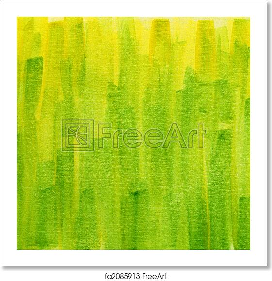 Free art print of Green and yellow grunge painted watercolor paper texture