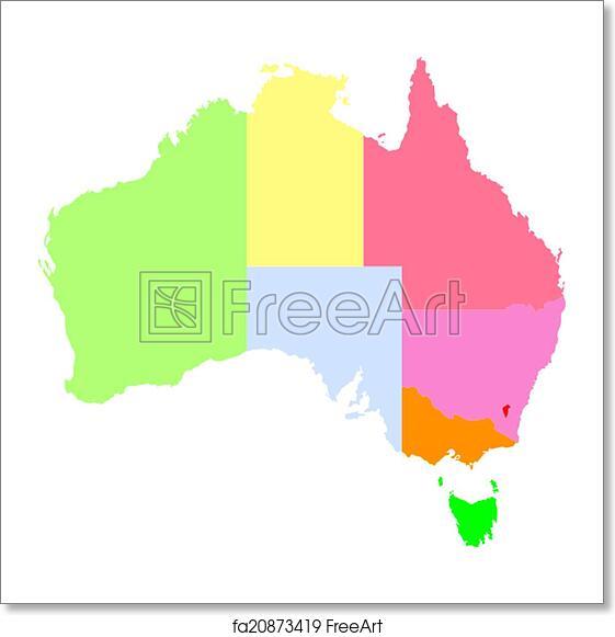 Simple Australia Map.Free Art Print Of Map Of Australia
