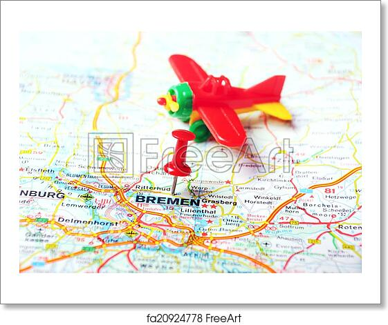 Free art print of Bremen, Germany map airplane. Close up of Bremen ...