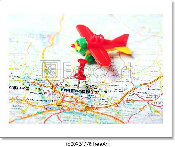 Free Art Print Of Bremen Germany Map Airplane Close Up Of Bremen