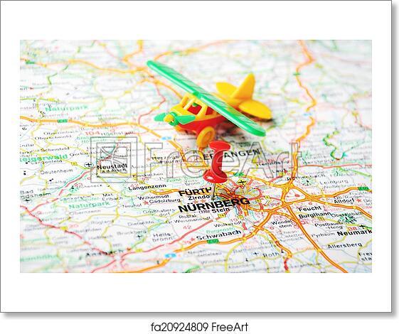Free Art Print Of Nurnberg Germany Map Airplane Close Up Of - Germany map nurnberg