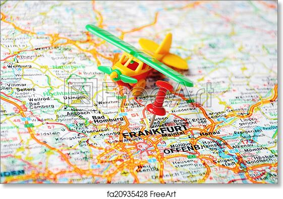 Free art print of Frankfurt, Germany map airport. Close up of ...