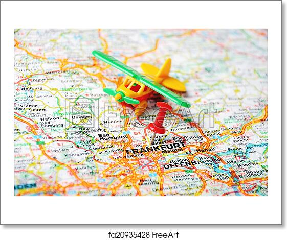 Free Art Print Of Frankfurt Germany Map Airport Close Up Of