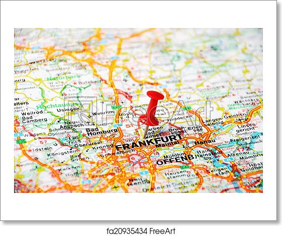 Free Art Print Of Frankfurt Germany Map Close Up Of Frankfurt