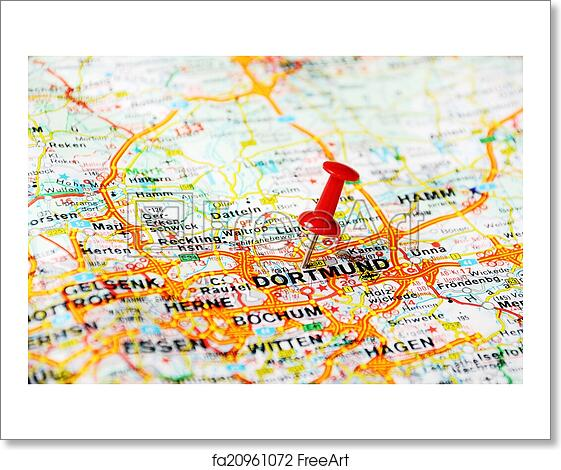 Dortmund On Map Of Germany.Free Art Print Of Dortmund Germany Map Close Up Of Dortmund