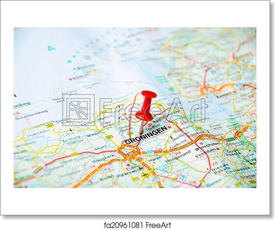 Free art print of Groningen, Holland map