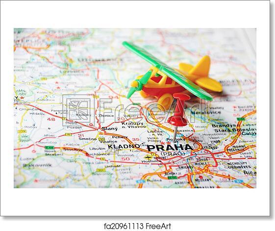 Free art print of Prague, Czech Republic map airport. Close up of ...