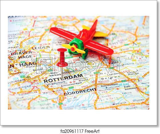 Free art print of Rotterdam,Holland map airplane. Close up of ...