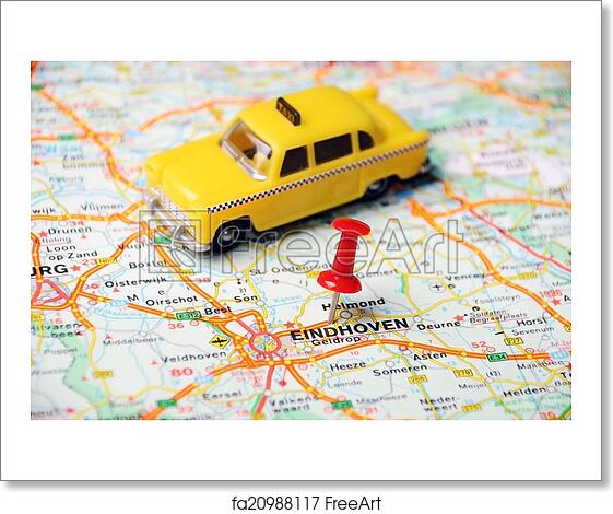 Free art print of Eindhoven,Holland map taxi. Close up of Eindhoven ...