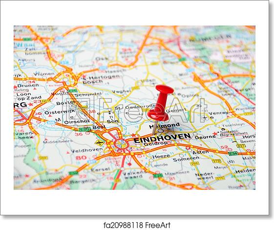 Free art print of Eindhoven,Holland map. Close up of Eindhoven ...