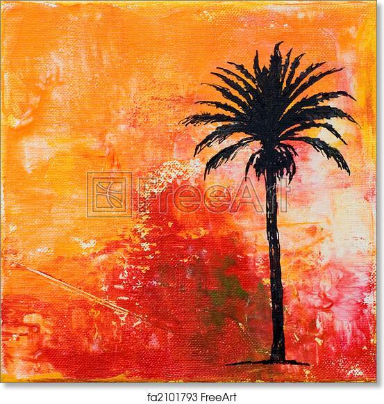 free art print of palm tree artwork painting with palmtree artwork